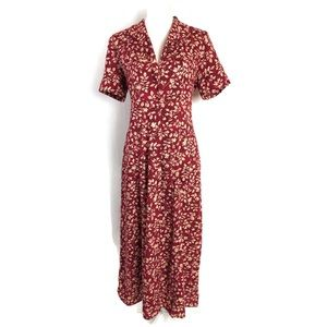 Vintage 90s Maxi Dress Red Floral Button Front